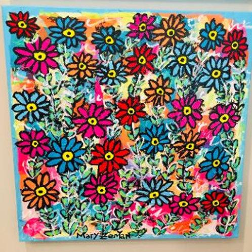 "24"" Paper Flowers Canvas"