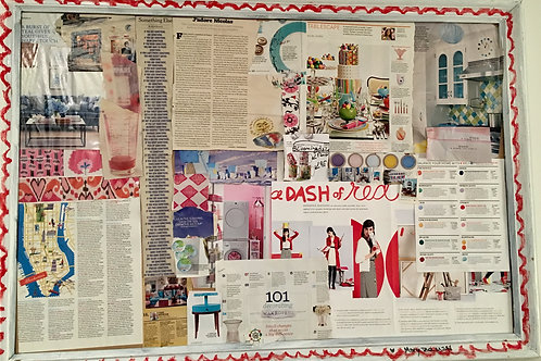 Dash of Red Collage in Painted Frame