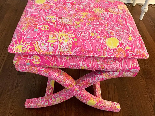 Lilly Pulitzer Custom Made X Bench Kinis in the Keys Furniture Designer Seat
