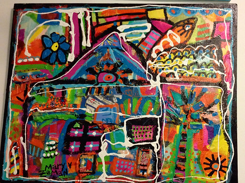 """Hidden Flight"" Acrylic, Collage+Ink on Canvas"