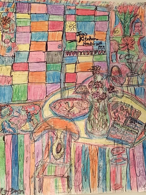 """""""Joan's Kitchen"""" Ink and Colored Pencil on Heavy Paper(Unframed)"""