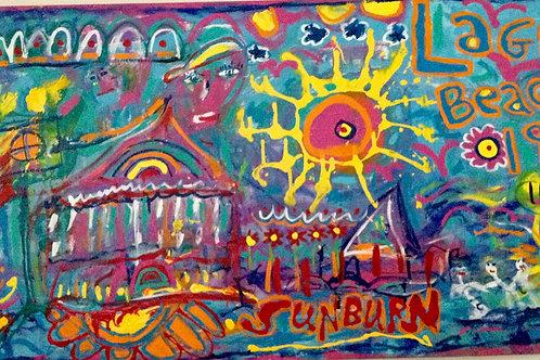"""""""Laguna Beach"""" Acrylic, Ink and Housepaint on Canvas"""