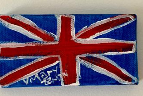 "Little Brit Flag 4""X2"" Acrylic on Canvas"
