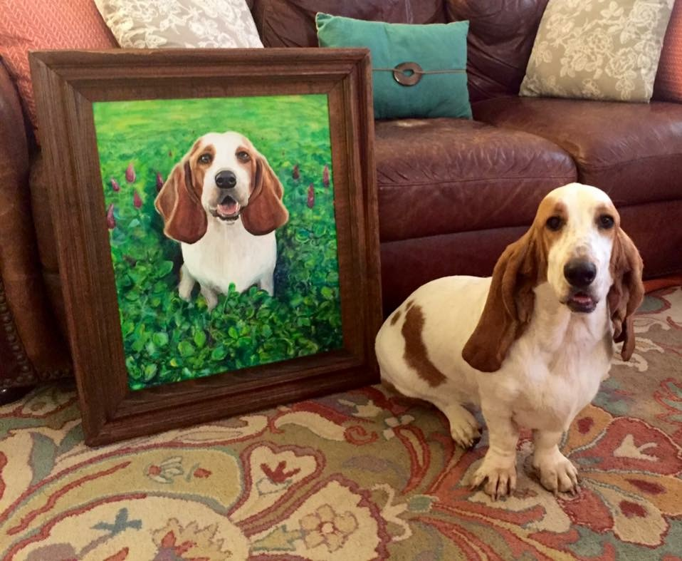 custom framing dog painting and dog