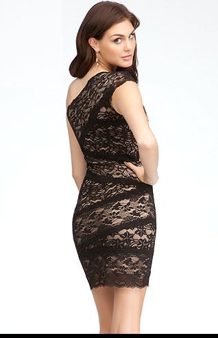 One Shoulder Mixed Lace Dress- back.PNG