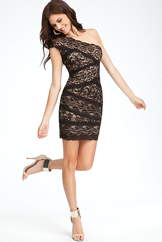 One Shoulder Mixed Lace Dress.PNG