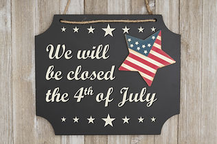 We will be closed he 4th of July text In