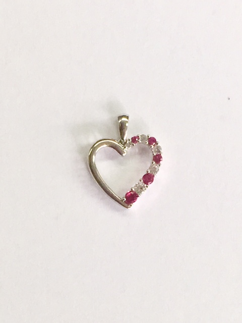 10k White Gold Heart with CZs $65