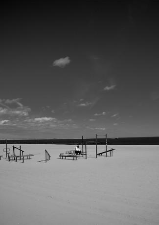 Man at the beach Coney Island
