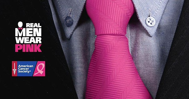 picture of suit, shirt, pink tie with the text Real Men Wear Pink and the American Cancer Society logo