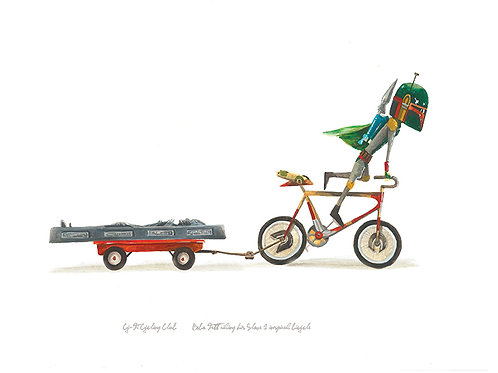 Boba Fett riding his Slave I bicycle