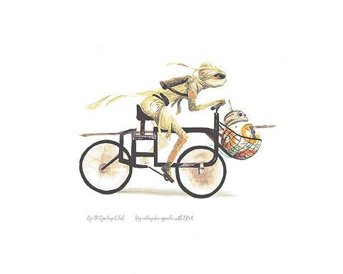 Rey riding her speeder inspired bicycle
