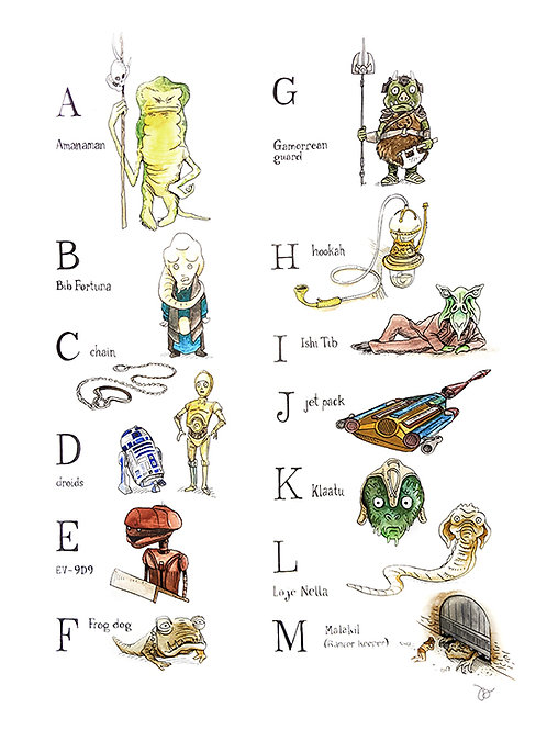 Alphabet A-M : Richard Scarry + Star Wars Mashup Part 1
