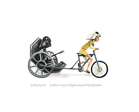 Darth Vader riding in his TIE fighter ricksha