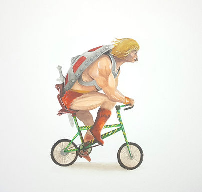 He-Man Riding on his Battlecat Bicycle