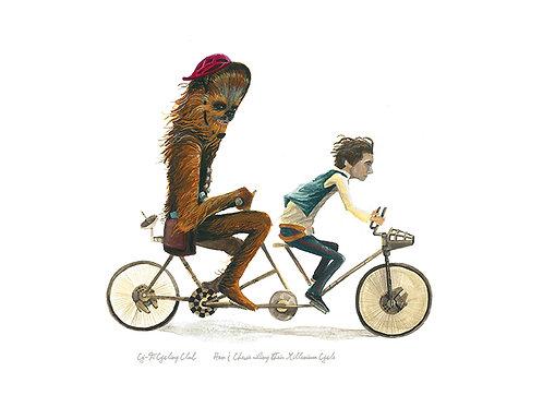 Han & Chewie riding their Millenium Falcon tandem bike