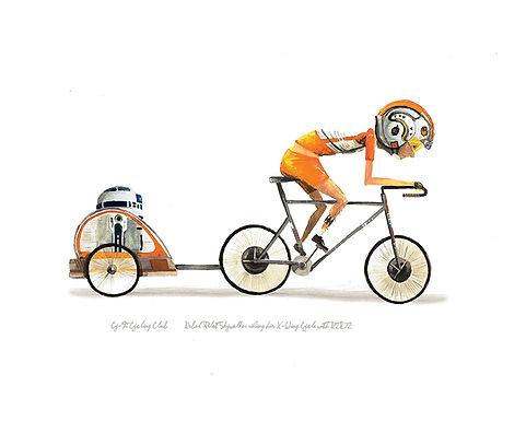 Rebel Pilot Luke riding X-Wing bicycle