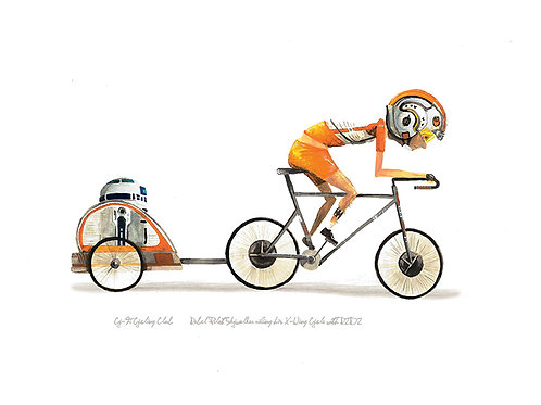 Rebel Pilot Luke riding X-Wing bicycle