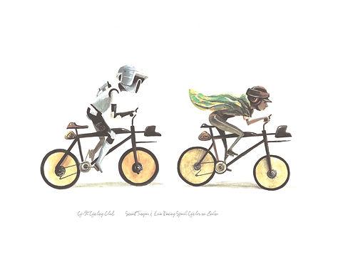 Biker Scout & Leia racing speeder bicycles on Endor
