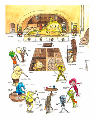Jabba's BUSY Palace : Richard Scarry + Star Wars Mashup