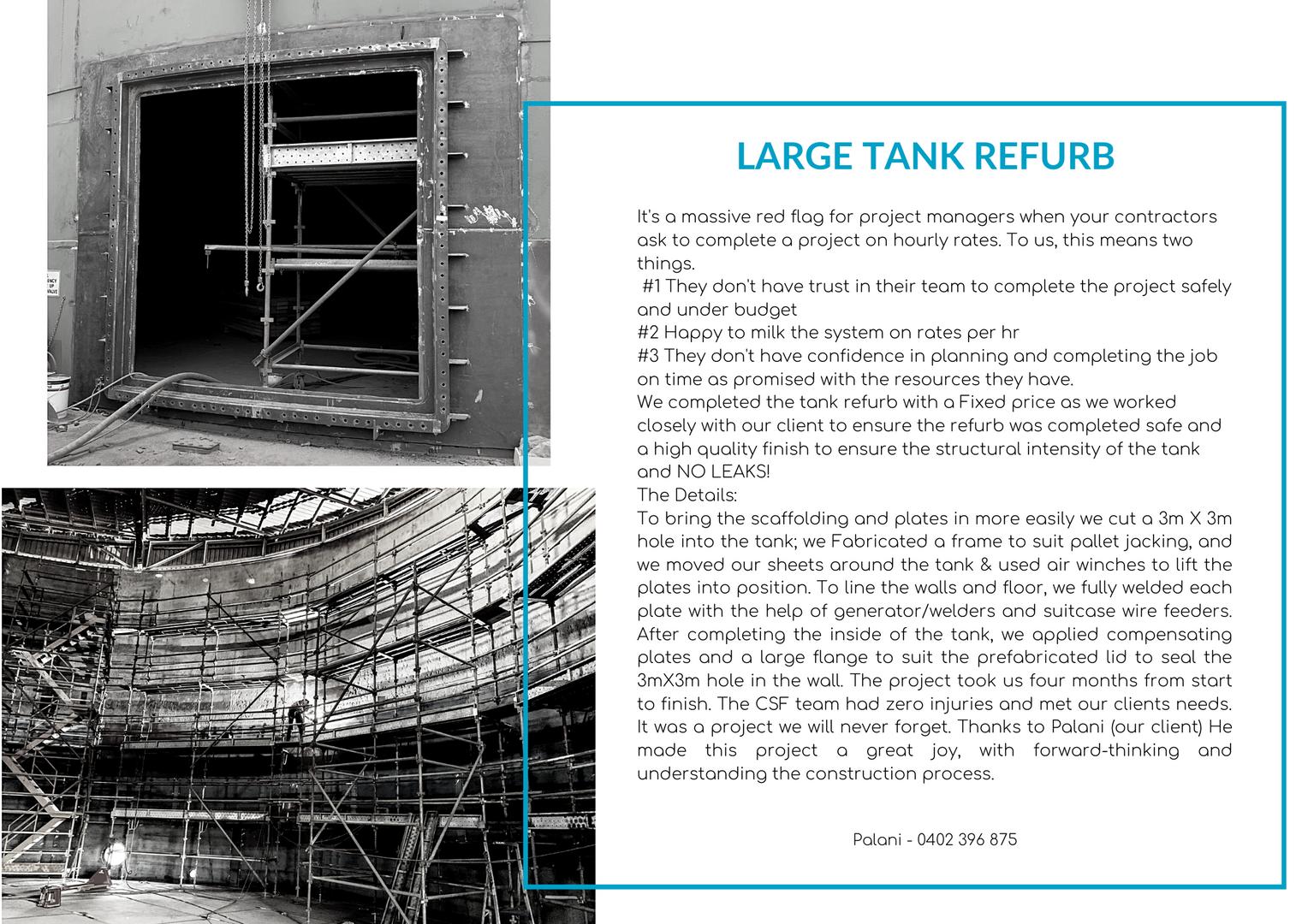 Large tank refurb