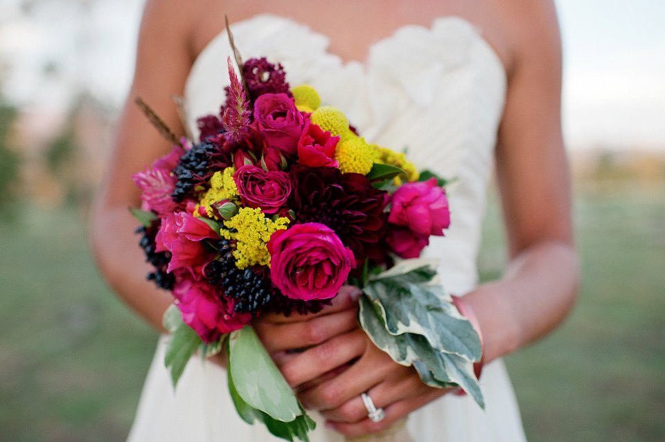 Bridal Bouquets Denver - Dark Purples and Pinks with Yellow