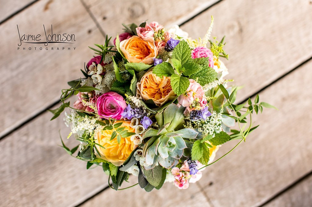 Bridal Bouquets Denver - Spring Colors with Succulents and Mint