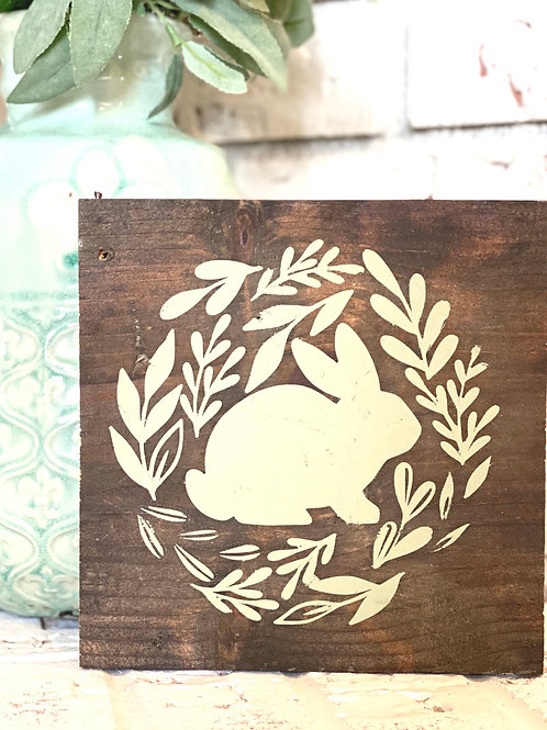 Spring Bunny Wood Sign