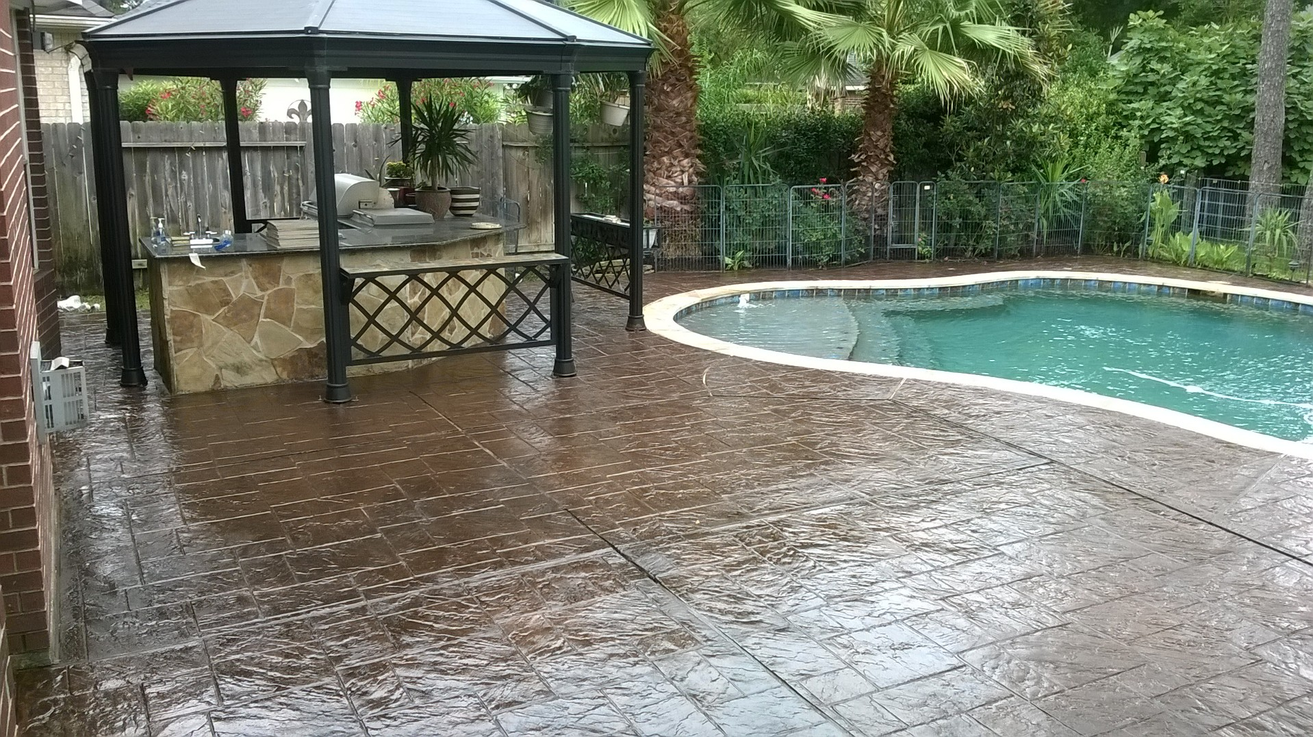Stamped Concrete pool deck restored