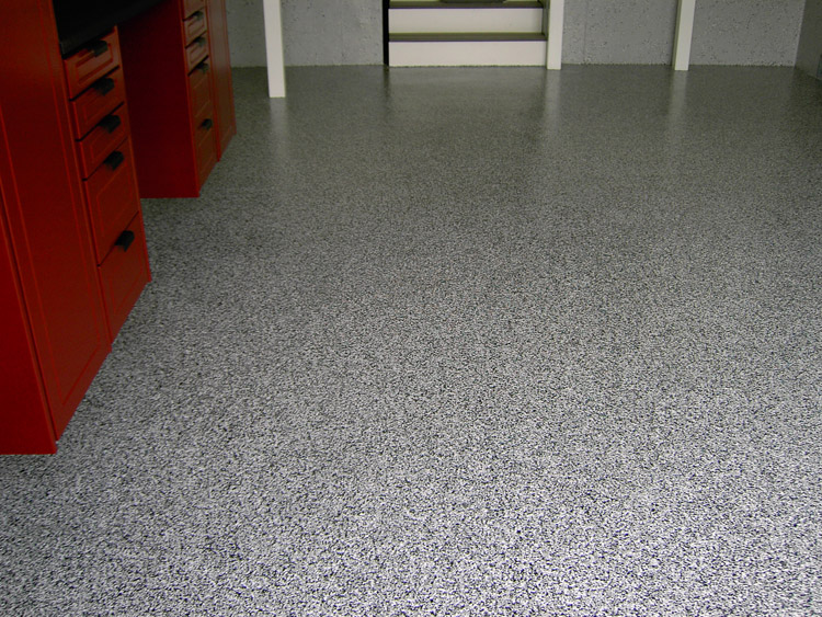 Gray and Black speckled garage floor
