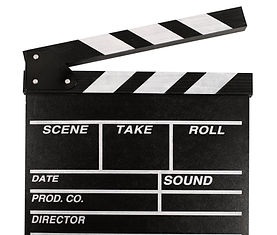 Film Clapperboard. Isolated over white b