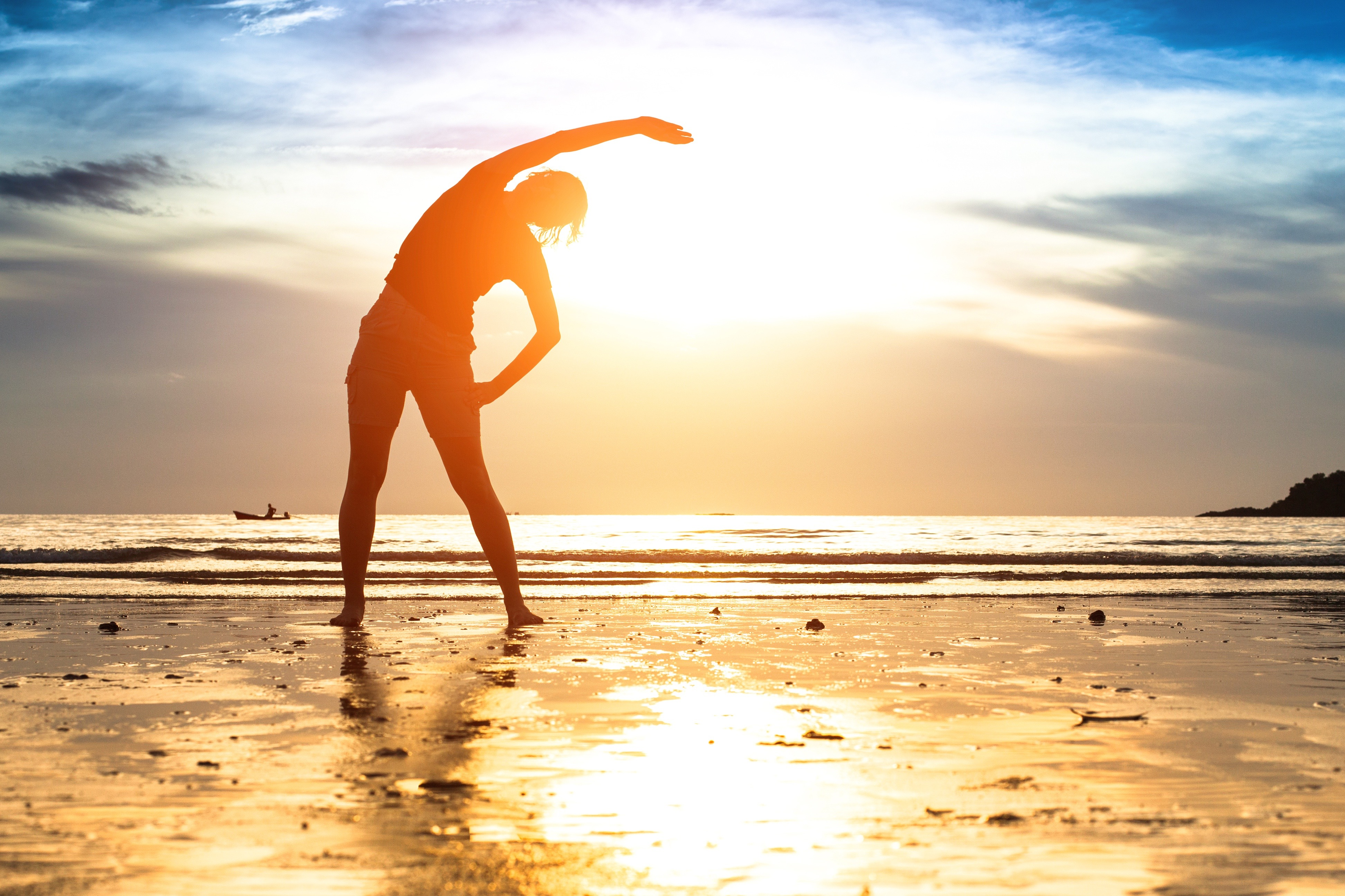 Silhouette young woman, exercise on the