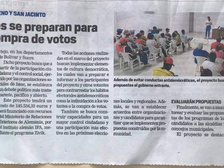 «Poblaciones se preparan para prevenir compra de votos» – El Universal