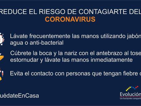 REDUCE EL RIESGO DE CONTAGIARTE DEL CORONAVIRUS