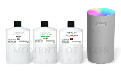 Grey Electric Diffuser Bundle (Supplied with 3 x 100mL Refills)