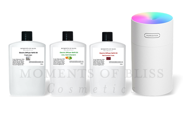 White Electric Diffuser Bundle (Supplied with 3 x 100mL Refills)