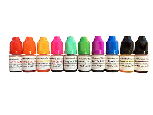 Cosmetic Water Based Liquid Dyes - 5mL - Set of 10 Colours