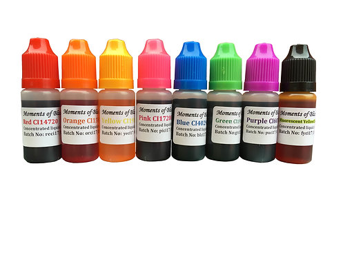 Cosmetic Water Based Liquid Dyes - 10mL - Set of 8 Colours