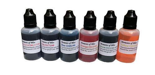 Cosmetic Water Based Liquid Dyes - 30mL - Set of 6 Colours