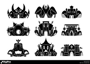 Cartoon building Silhouettes for a 2D game