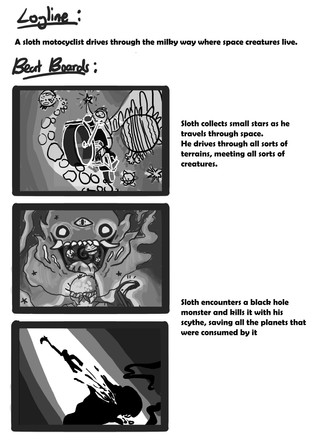 Initial story beat boards for Space Oats