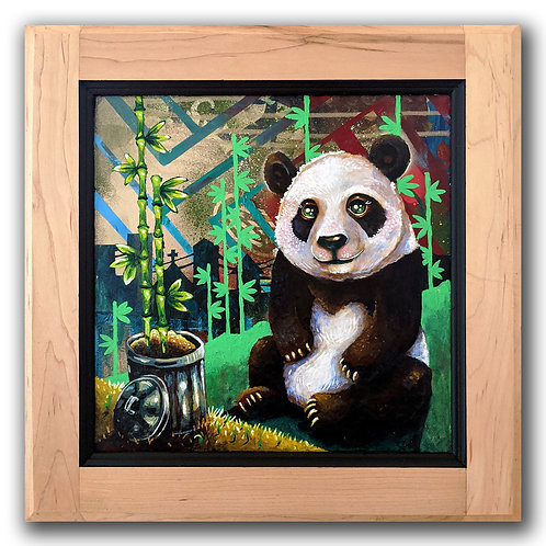 """Trash Panda"" Original Acrylic on Wood Cupboard Door"