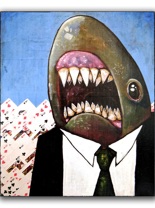 """Cardshark"" Print on Wood"