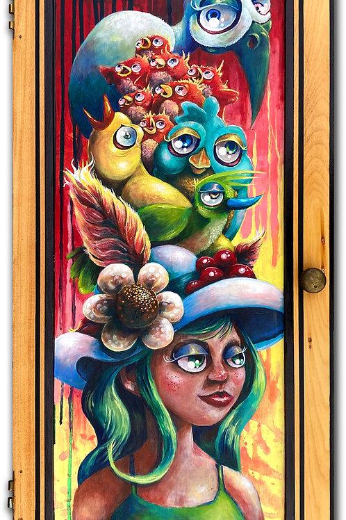 """""""Avian Elitism"""" Original Acrylic on Wood Cupboard Door"""