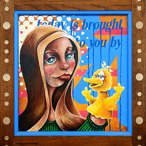 """Influencer"" Original Acrylic on Wood Cupboard Door"