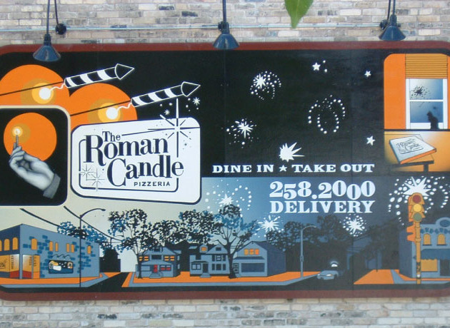 Roman Candle Hand Painted Exterior Sign