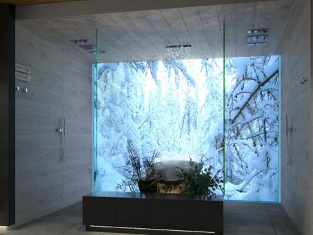 В банном комплексе, для весёлых обтираний зазевавшегося товарища крайне необходим снег!