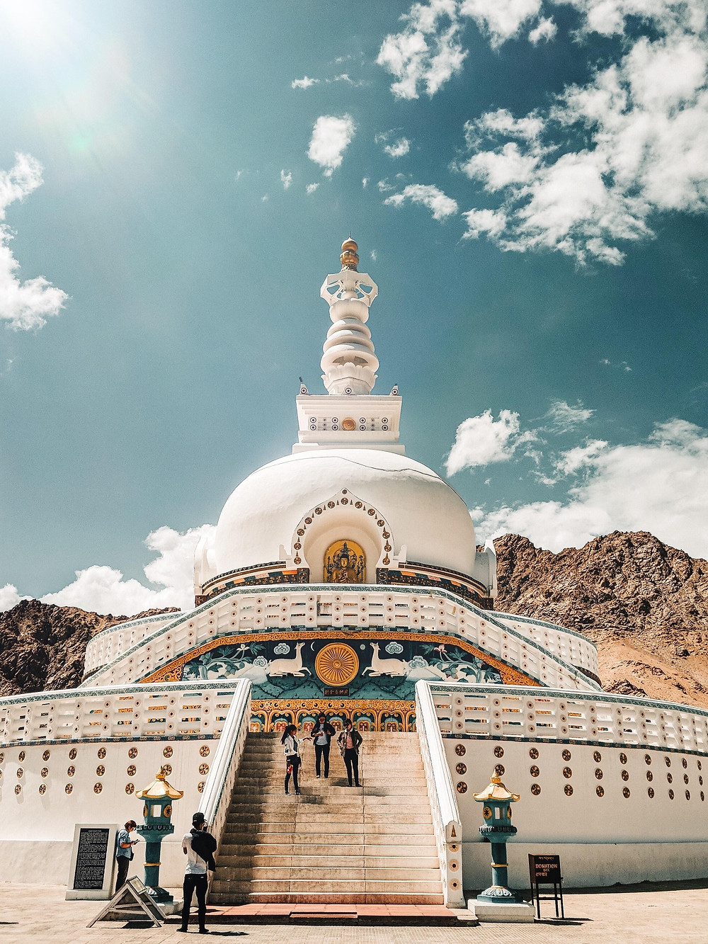 The white dome shaped Shanti Stupa.