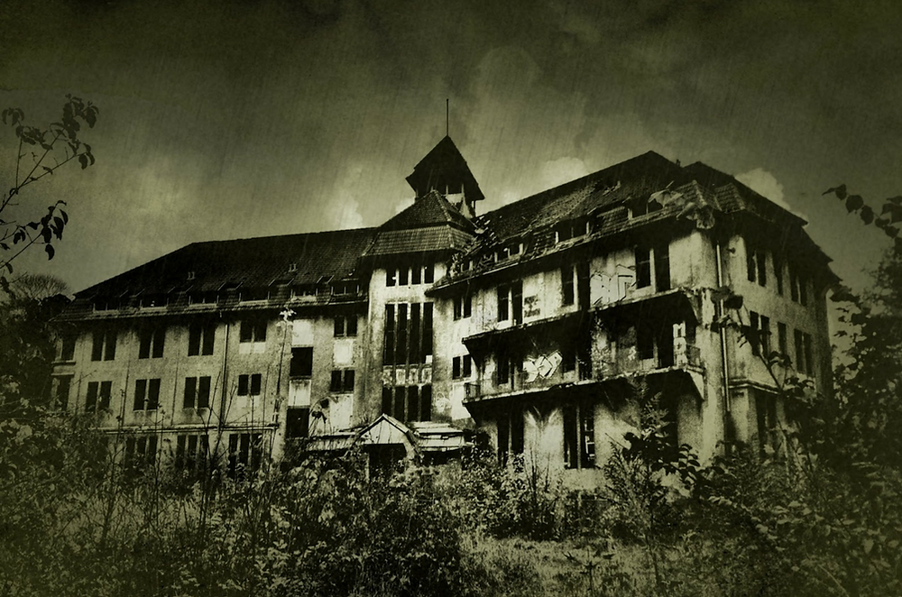 A haunted hotel in ruins.