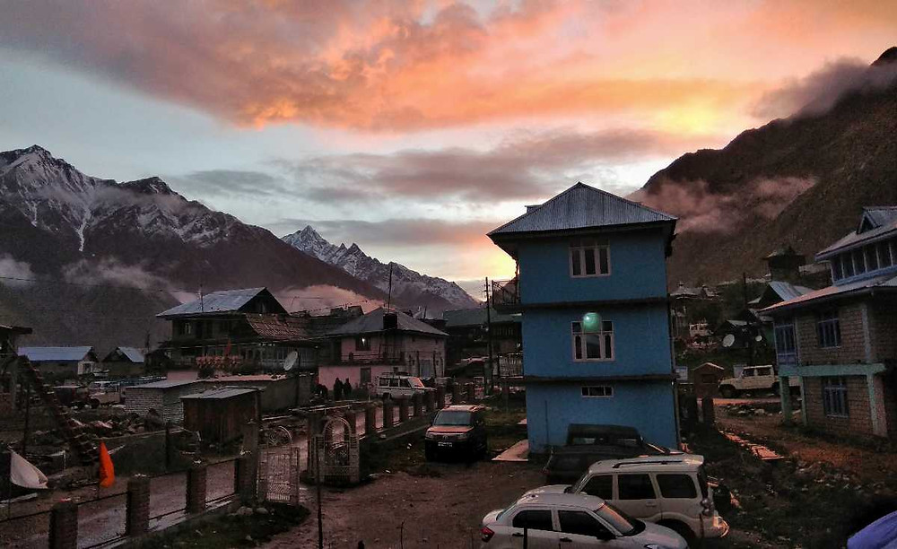 Hotels in Chitkul village at night.